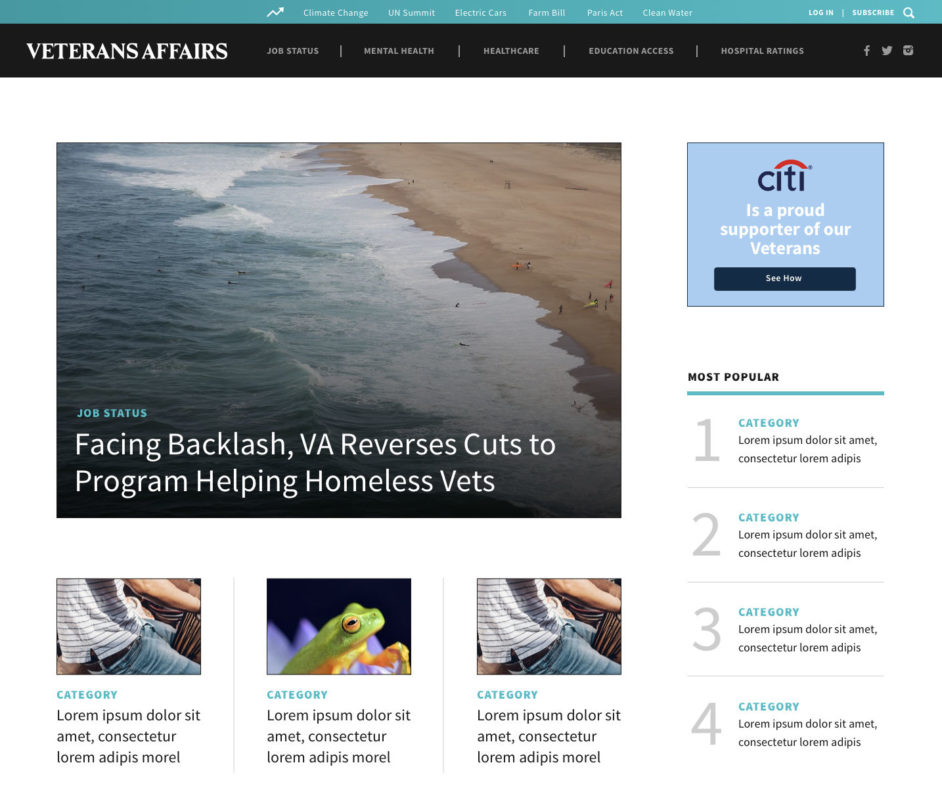 The News Project home page design sample